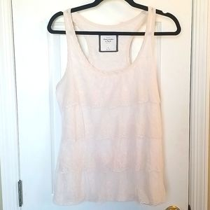 👀Abercrombie & Fitch Racerback Lace Ruffle Top